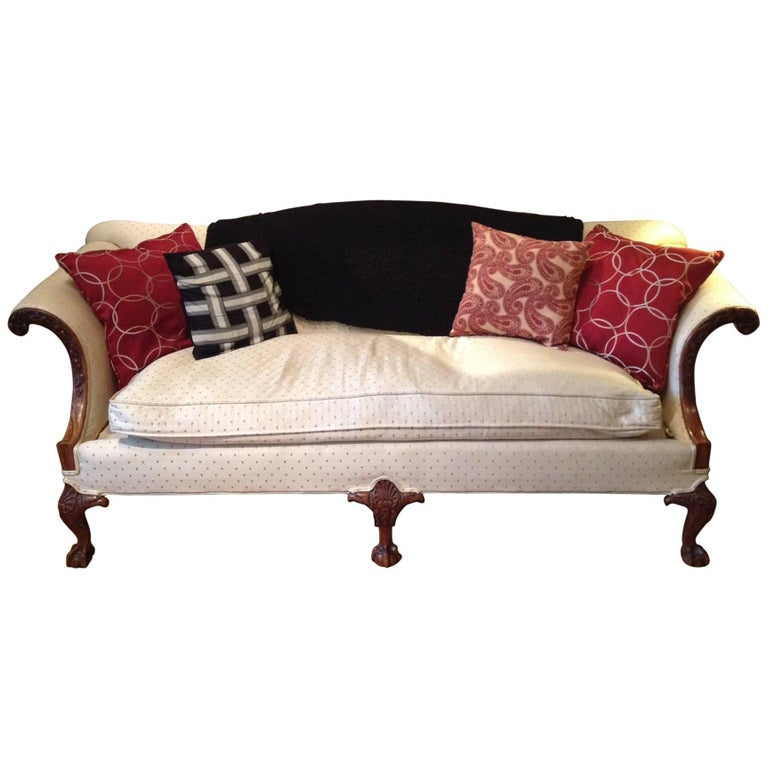 American Chippendale Style Carved Walnut Settee
