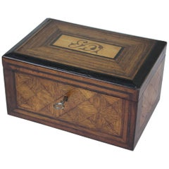 Antique English Walnut and Oak Tea Caddie, Ebony Inlay