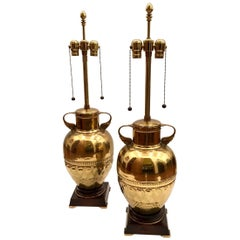 Pair of Tall Brass Urn Table Lamps by Marbro Lamp Company
