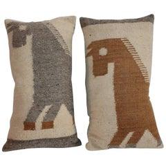 Folky Horses Weaving Pillows, Pair