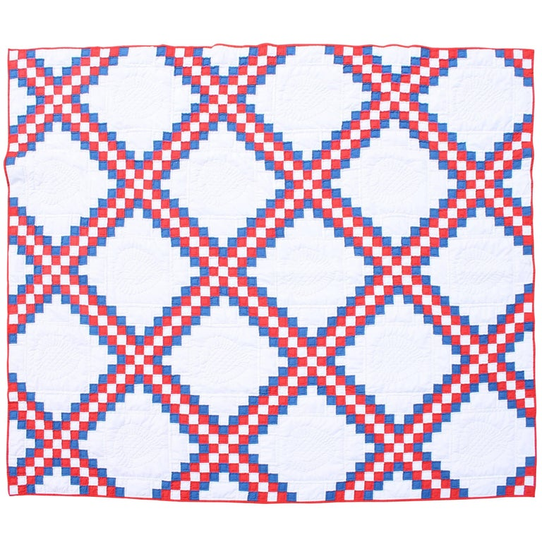 Patriotic Quilt In Triple Irish Chain Pattern For Sale At