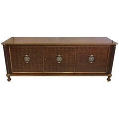 French Mid-Century Modern Neoclassical Mahogany Sideboard Signed by Jules Leleu