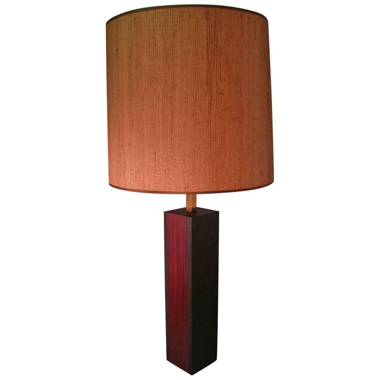 Mid-Century Modern Walnut and Slate Table Lamp Laurel Lamp Co.