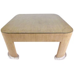 Stylish Modern Grasscloth Coffee Table in the Style of Karl Springer