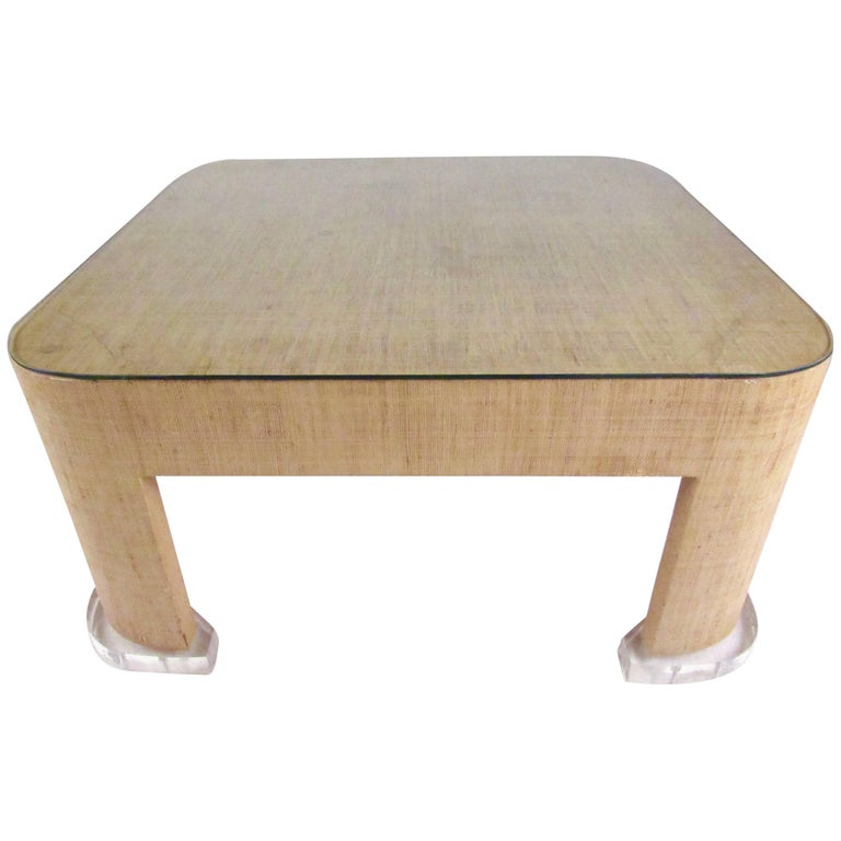 Stylish modern grasscloth coffee table in the style of for Modern chic coffee tables