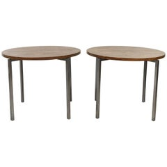 Pair of Florence Knoll Wooden Top Circular Side Tables or Drink Stands
