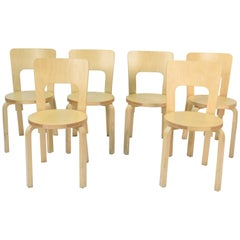 Set of Six Alvar Aalto for Artek High Back Chairs Model 66