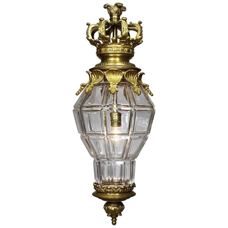 """French 19th-20th Century Gilt-Bronze and Molded Glass """"Versailles"""" Style Lantern"""