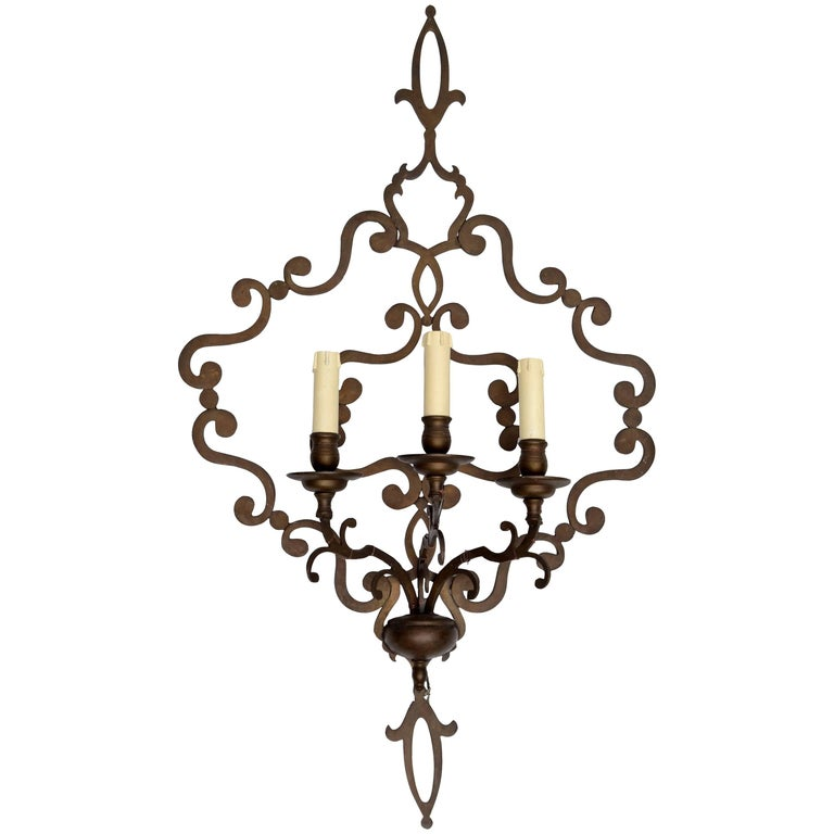 Italian Wrought Iron Applique, Wall Sconce For Sale