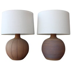 Pair of 1970s Studio Pottery Table Lamps