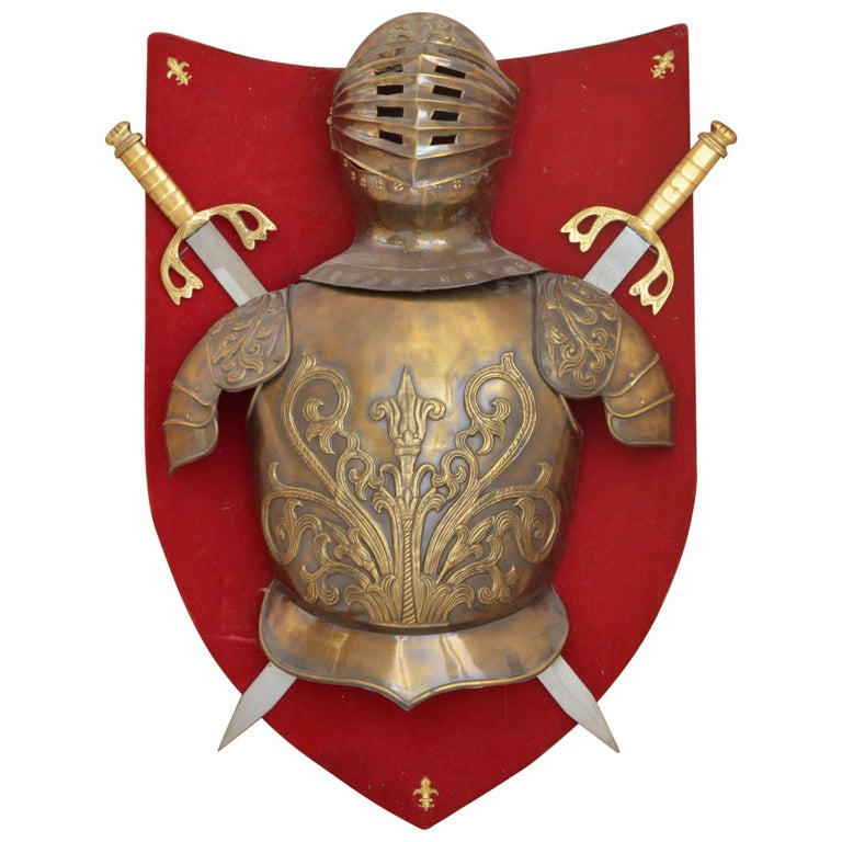 Decorative knight 39 s armour on a shield wall decoration for Armor decoration