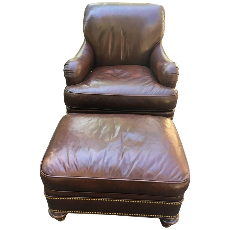 Designer Chocolate Brown Leather Club Chair And Ottoman