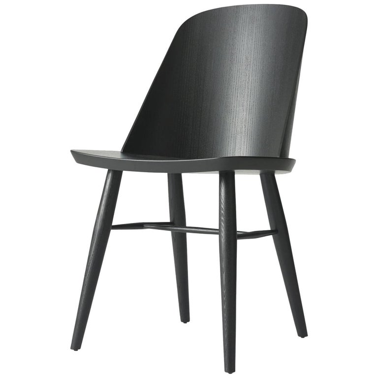 Synnes Dining Chair by Falke Svatun, Black Ash, Swappable Glides