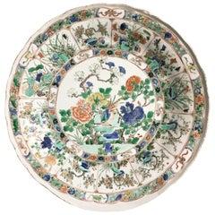 18th Century, Chinese Kangxi Famille Verte Foliate Porcelain Large Dish