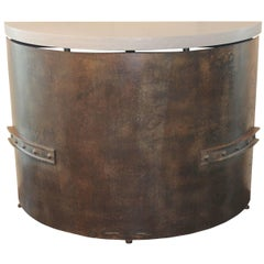 Antique French Industrial Steel Bin as Demilune with Lagos Azul Limestone Top