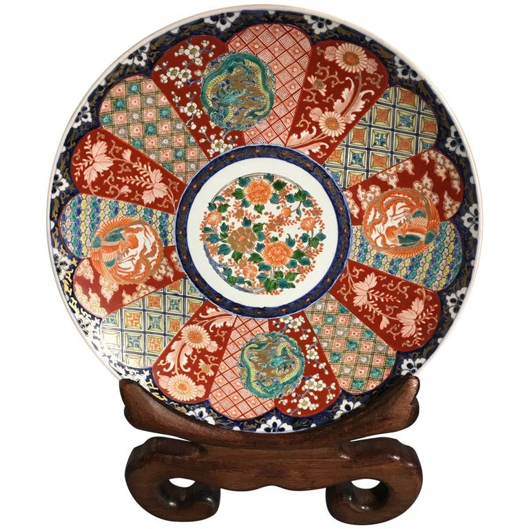 Japanese Meiji Period Imari Porcelain Charger For Sale