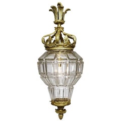 "French 19th-20th Century Gilt-Bronze and Cut-Glass ""Versailles"" Style Lantern"