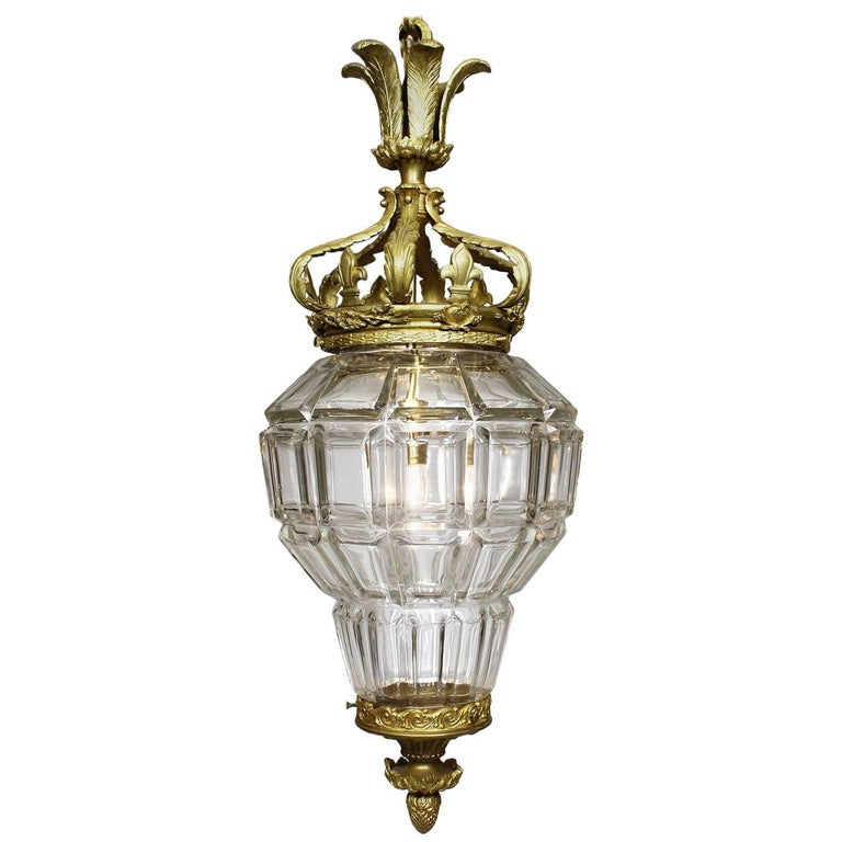 """French 19th-20th Century Gilt-Bronze and Cut-Glass """"Versailles"""" Style Lantern"""