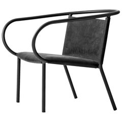 Afteroom Lounge Chair by Afteroom, in Steel with Black Leather