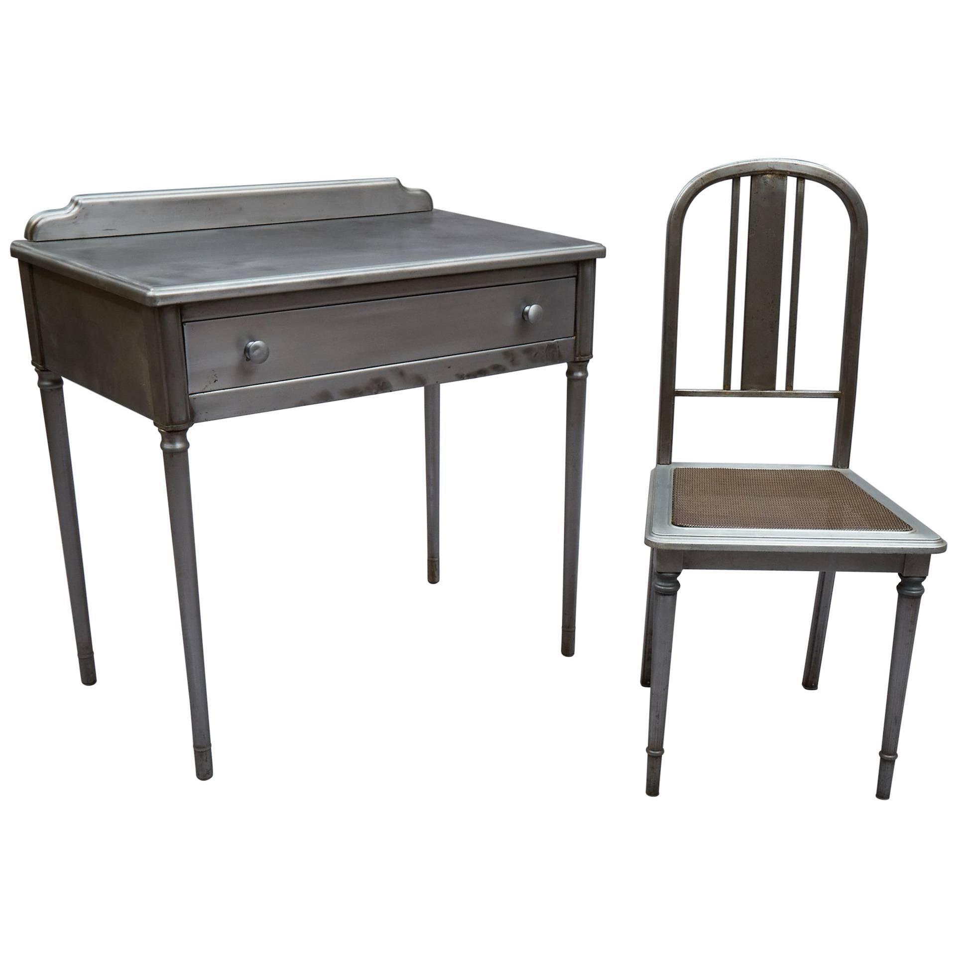 Industrial Brushed Steel Simmons Sheraton Series Vanity Desk Set