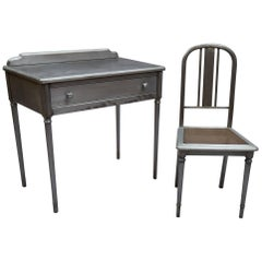 Industrial Brushed Steel Simmons Sheraton Series Vanity Desk Set