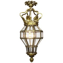 "Early 20th Century Gilt-Metal and Glass ""Versailles"" Style Hanging Lantern"