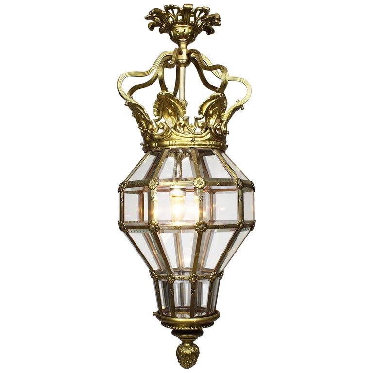 """Early 20th Century Gilt-Metal and Glass """"Versailles"""" Style Hanging Lantern"""