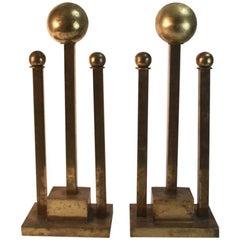 Pair of Art Deco Andirons in Brass