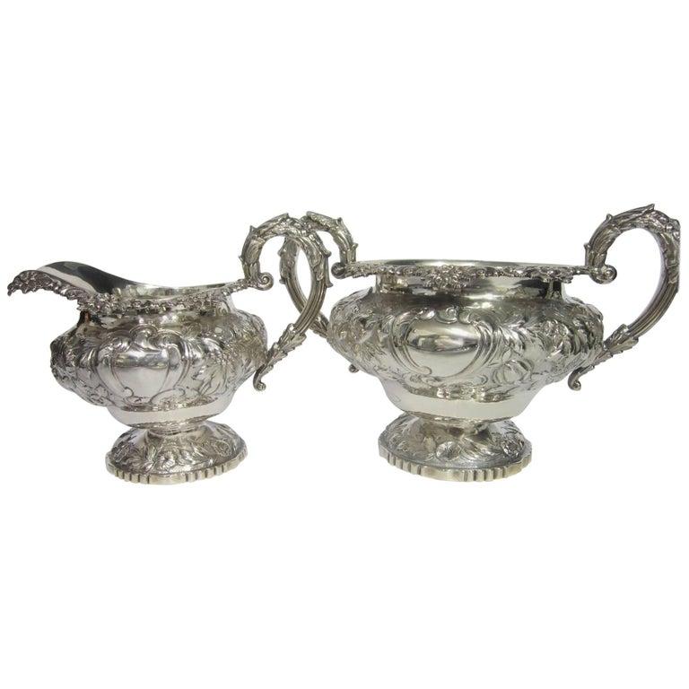George IV Sterling Silver Sugar Bowl and Cream Jug