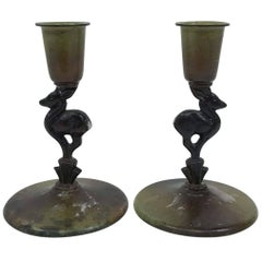 Ystad Brons Fawn Candleholders, Pair