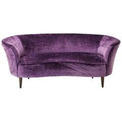 Italian Curved Velvet Sofa
