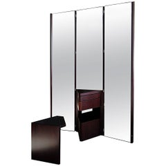 Simon Italian Black Laquered Wood, Dark Glass Vanities Table with Mobil Mirrors