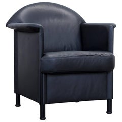 COR Designer Armchair Leather Black One-Seat Couch Modern