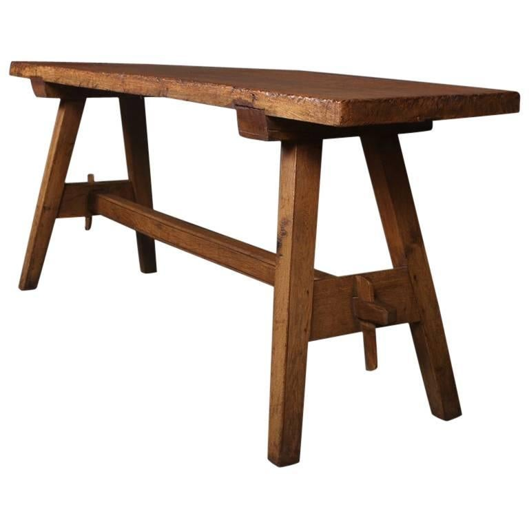 19th Century French Oak Trestle Table