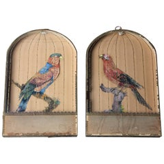 Pair of Appliqué Paper Pictures in the Form of Caged African Parrots, circa 1800