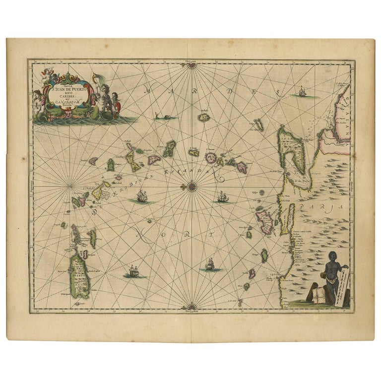 Antique Map of the Caribbean Islands by J. Jansson, circa 1650