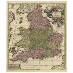 Antique Map of England by N. Visscher II, 1694