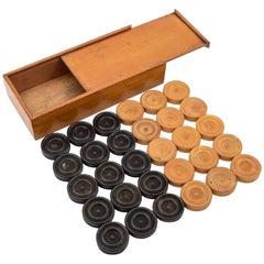 Edwardian Draughts/Backgammon Counters, circa 1905