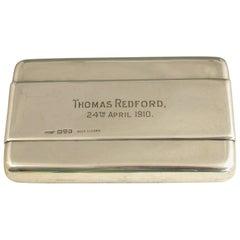 Rare Edwardian Silver Tobacco Cartridge Dispenser Registered Design Chester 1909