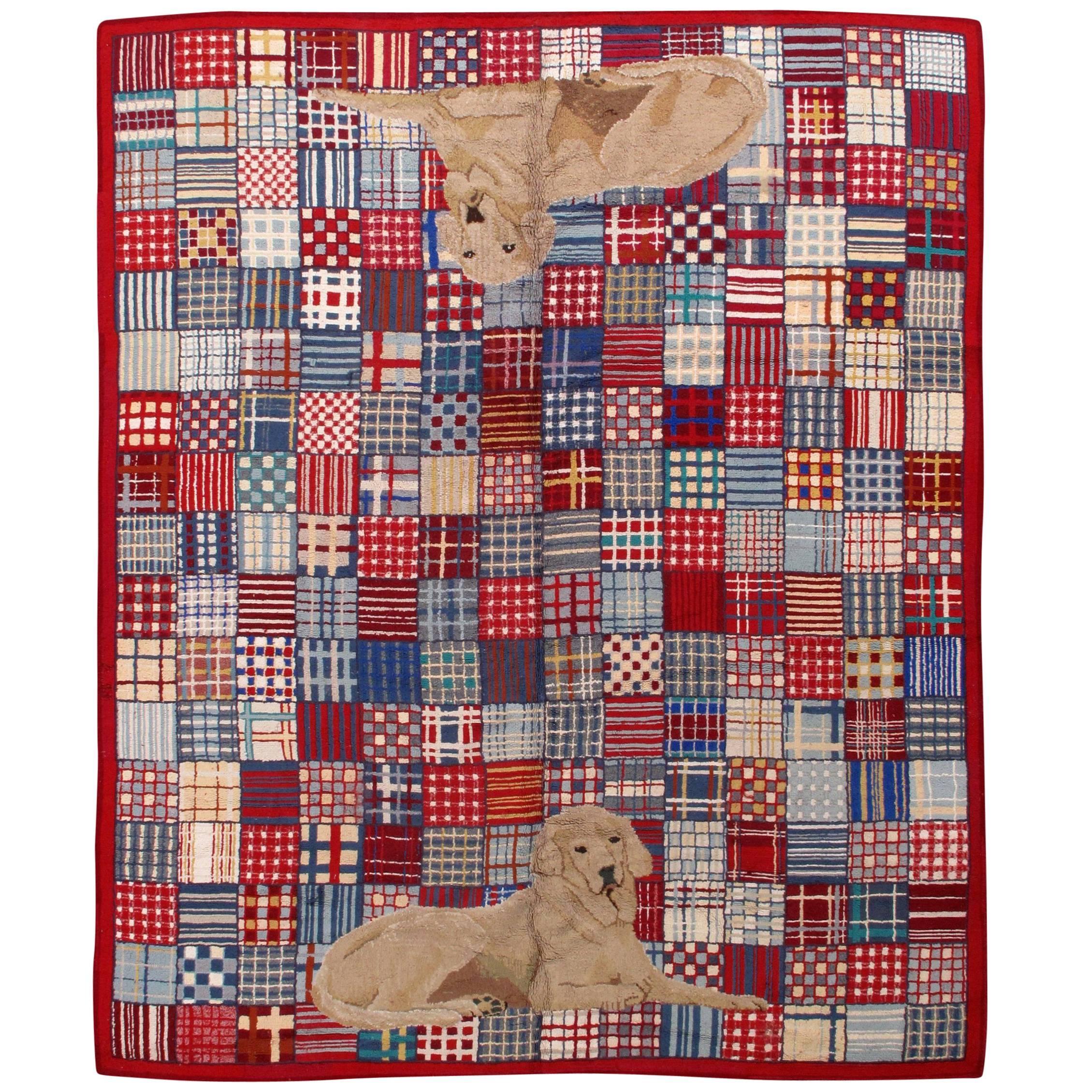 Handmade Vintage American Hooked Rug, 1960s, 1B50