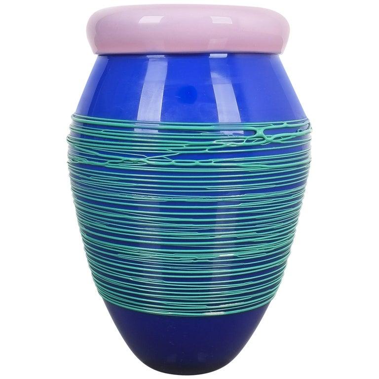 Toots Zinsky Chiacchiera Venini Vase Incamiciato Glass, Italy, 1990 For Sale