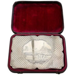 Queen Victoria on Horse Back Calton Hill Edinburgh Antique Silver Card Case