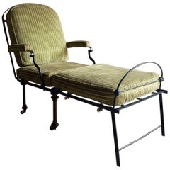 Antique Campaign Daybed Fold Out Chair Cast Iron Casters Victorian