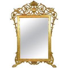 19th Century Antique Italian Rococo Giltwood Mirror