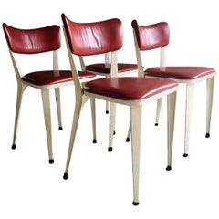 Midcentury Ernest Race Set of Four BA3 Dining Chairs White Cherry Red Leather