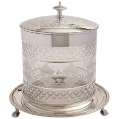 Victorian Etched Glass and Silver Plated Biscuit/Cookie Jar, circa 1880