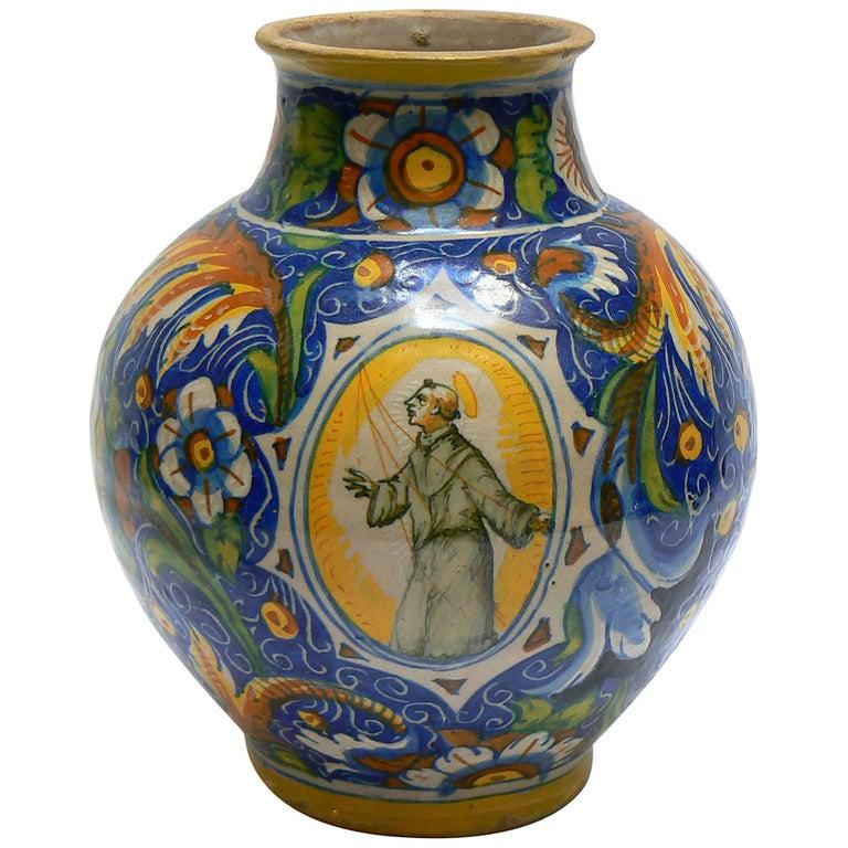 Italy, Venice, 16th Century, Ovoid Vase in Majolica