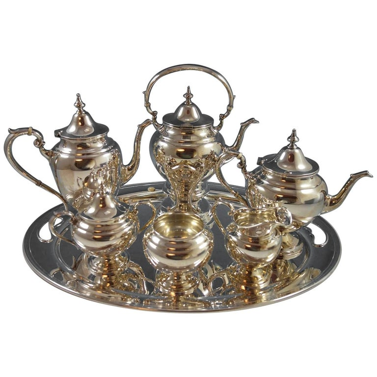 Puritan by Gorham Sterling Silver Tea Set Six-Piece Set with Tray, Hollowware