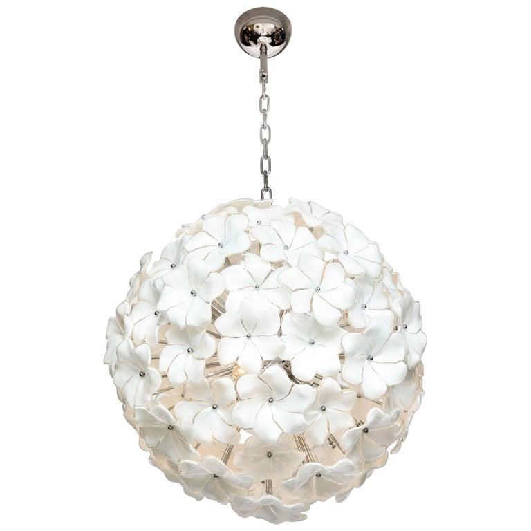 Italian Mid-Century Modern Murano Glass White Floral Sputnik or Globe Chandelier For Sale