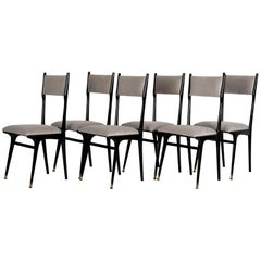 Six High Back Italian Chairs, Probably Ico Parisi, 1950